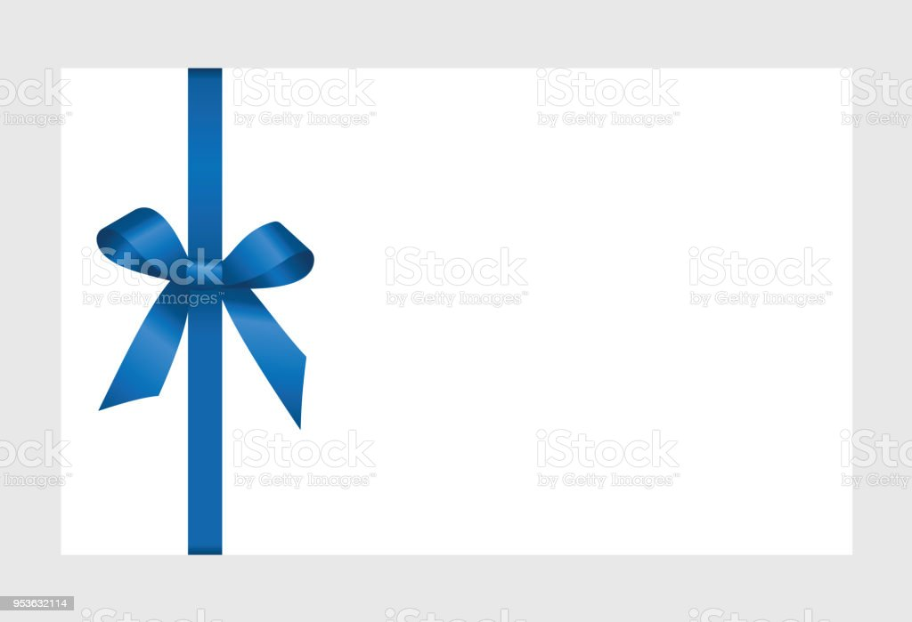 Invitation Greeting Or Gift Card With Blue Ribbon And A Bow On
