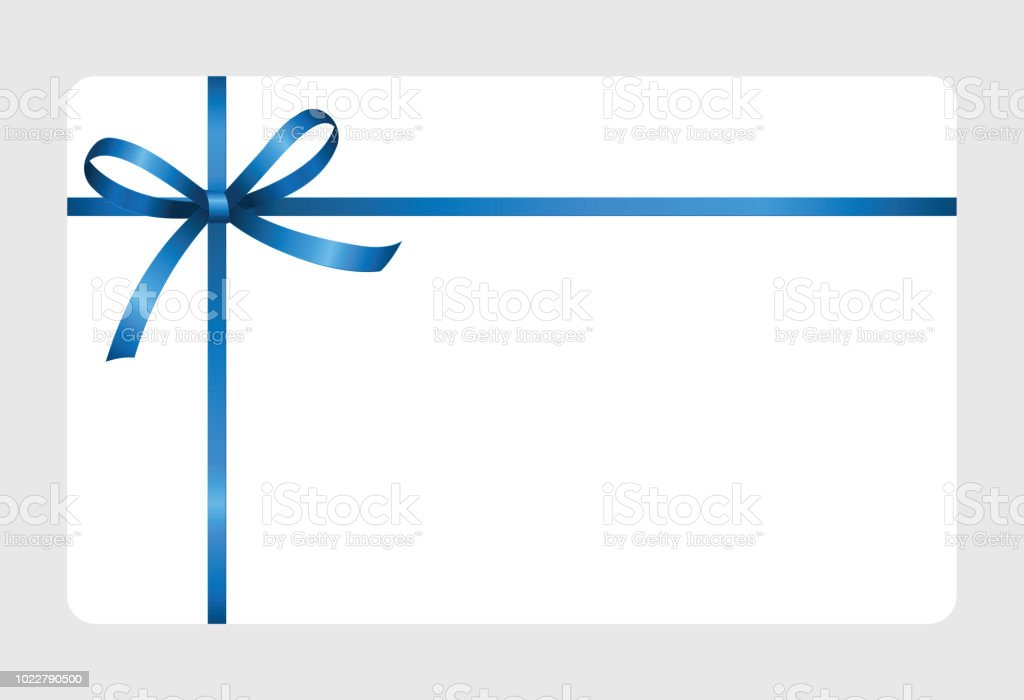 Invitation, Greeting or Gift Card With Blue Ribbon And A Bow  on white background.  Gift Voucher Template with  place for text. vector art illustration