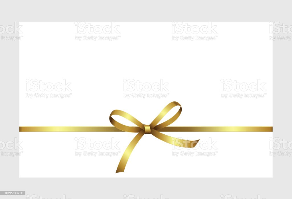 invitation greeting or gift card with golden ribbon and a bow on