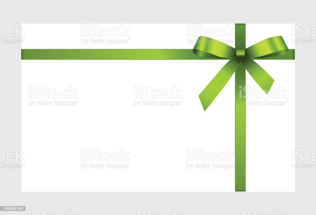 Invitation Greeting Or Gift Card With Green Ribbon And A Bow On