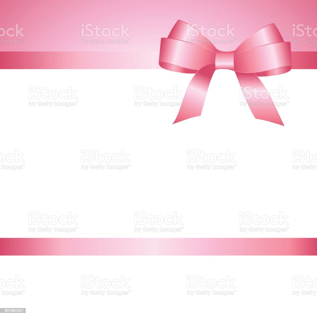 Invitation Greeting Or Gift Card With Pink Ribbon And A Bow On White