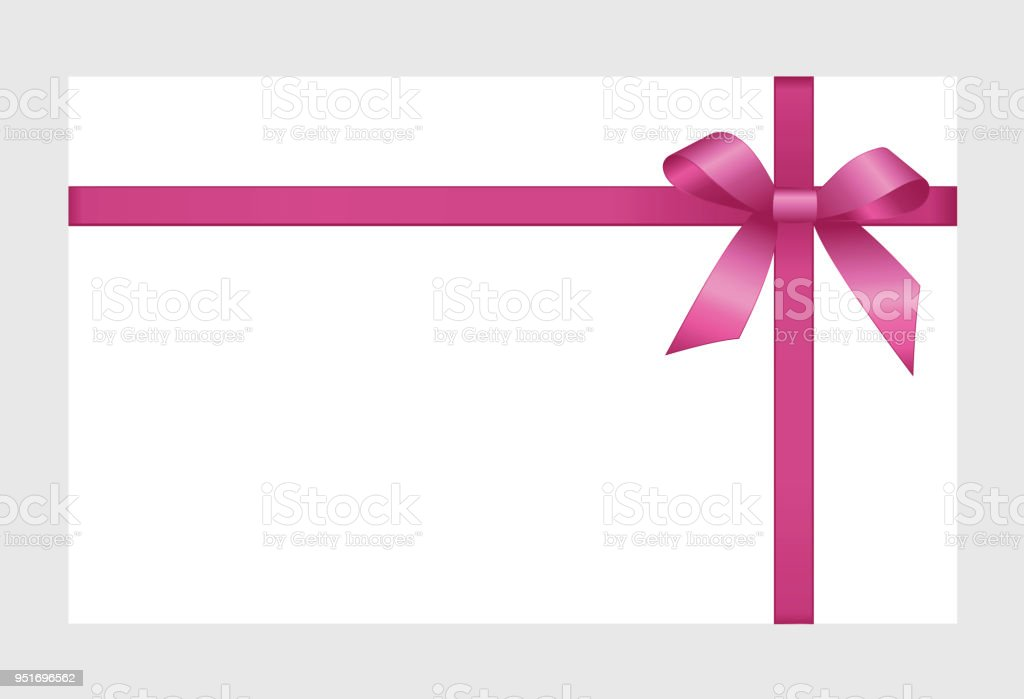 Invitation Greeting Or Gift Card With Pink Ribbon And A Bow On White ...