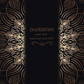 Invitation in dark blue with gold