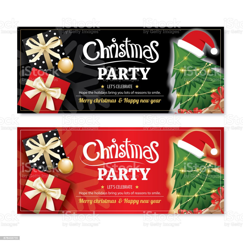 invitation merry christmas party poster banner and card design template on black and red background