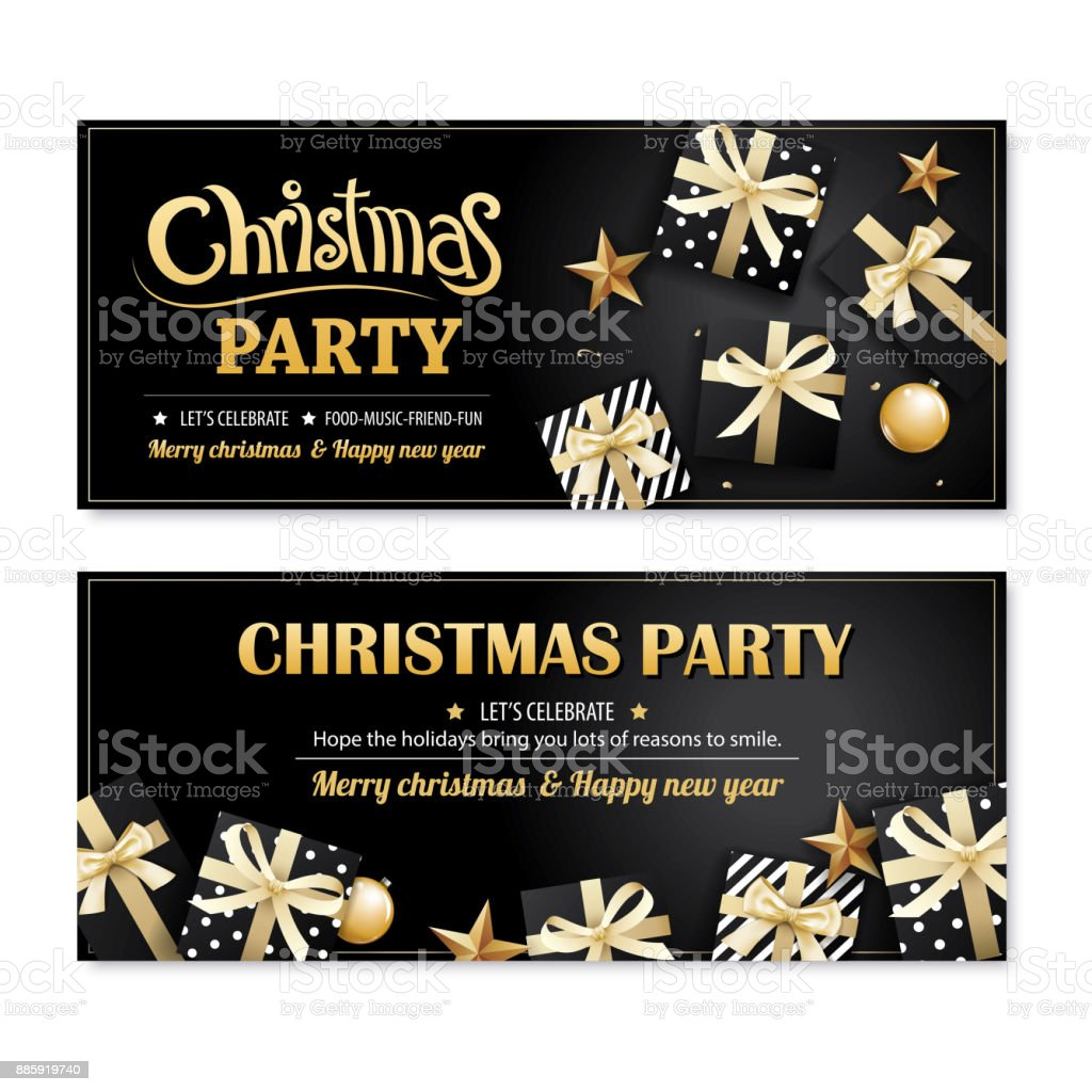 invitation merry christmas party poster banner and card design template on black background happy holiday