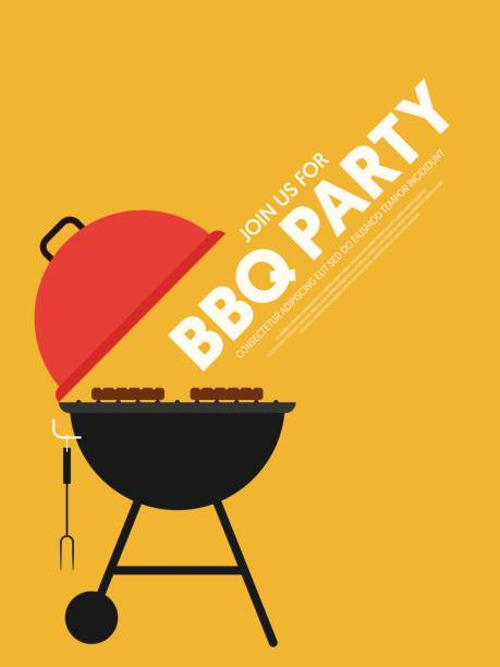 BBQ invitation modern retro vintage style poster template background vector art illustration