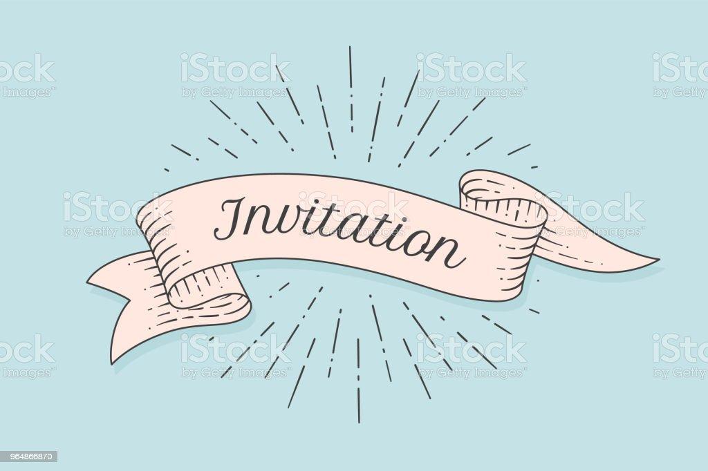 Invitation. Old ribbon banner royalty-free invitation old ribbon banner stock vector art & more images of ancient