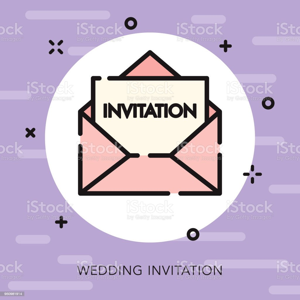 Invitation Open Outline Wedding Icon Stock Vector Art More Images