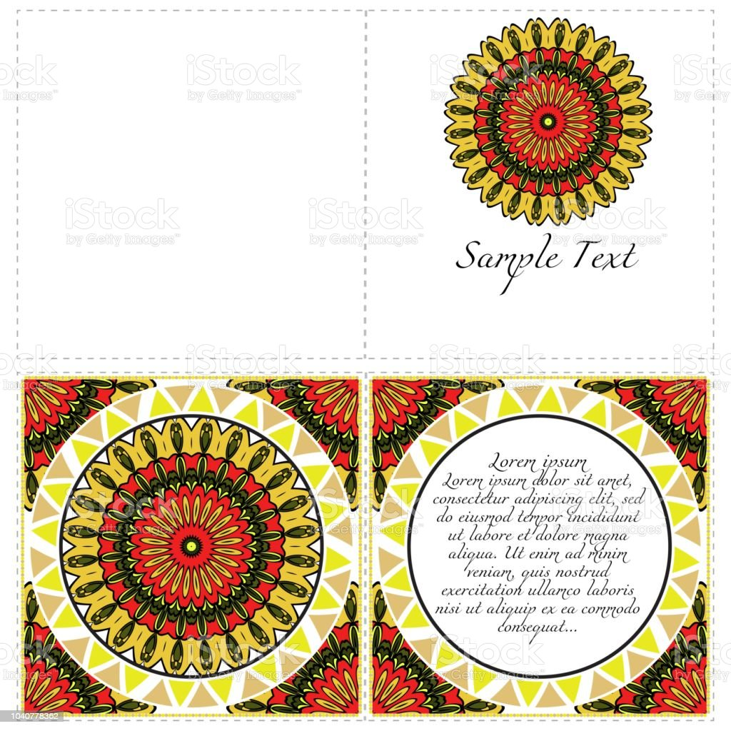 invitation or card template with floral mandala pattern decorative