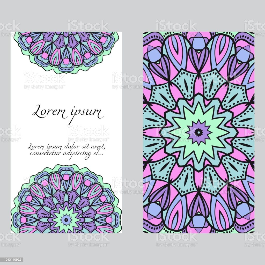 Invitation Or Card Template With Floral Mandala Pattern For Wedding
