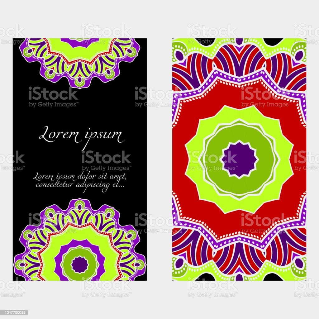 Invitation Or Card Template With Floral Mandala Pattern For Wedding ...