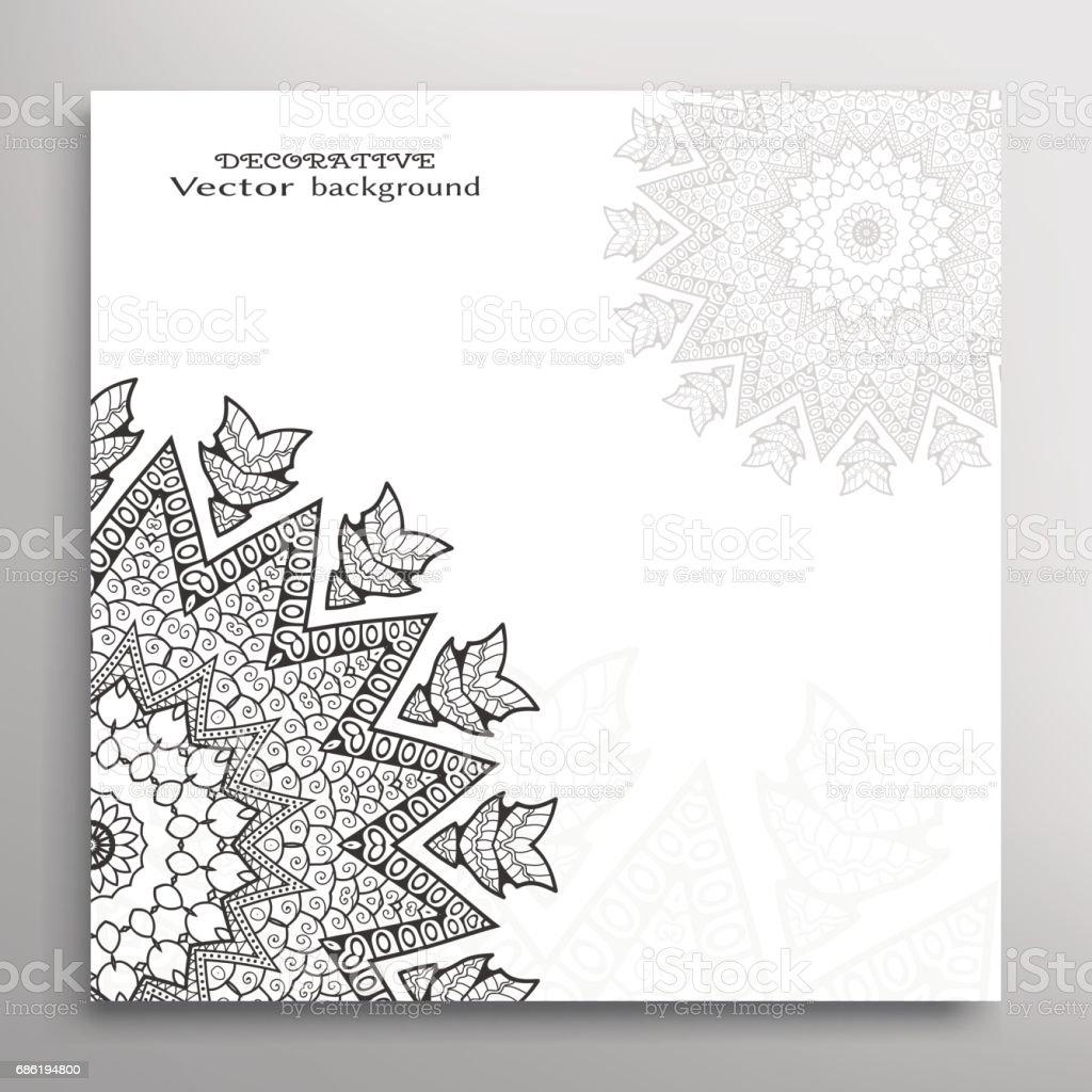 Invitation Or Card Template With Mandala Border Element ...