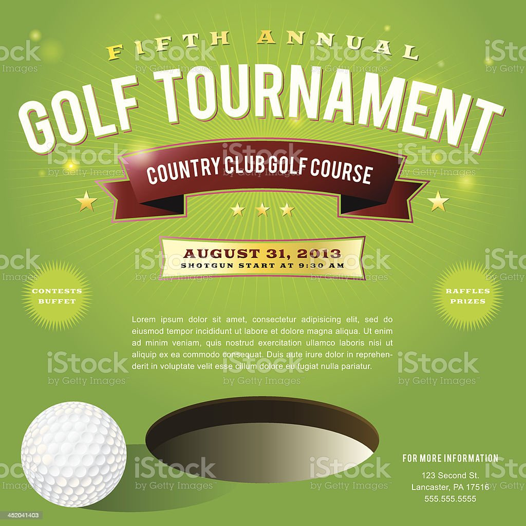 Invitation Pamphlet For A Country Club Golf Tournament Stock Vector