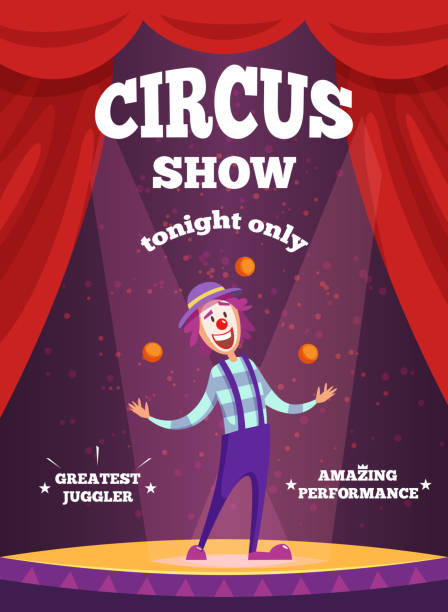 Invitation poster for circus show or magicians performance. Illustration of clown juggle on the scene vector art illustration
