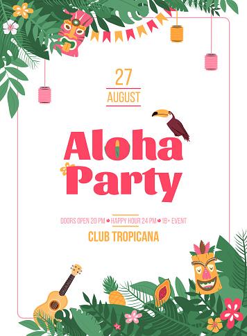 Invitation poster for Hawaiian Aloha Party cartoon vector illustration.