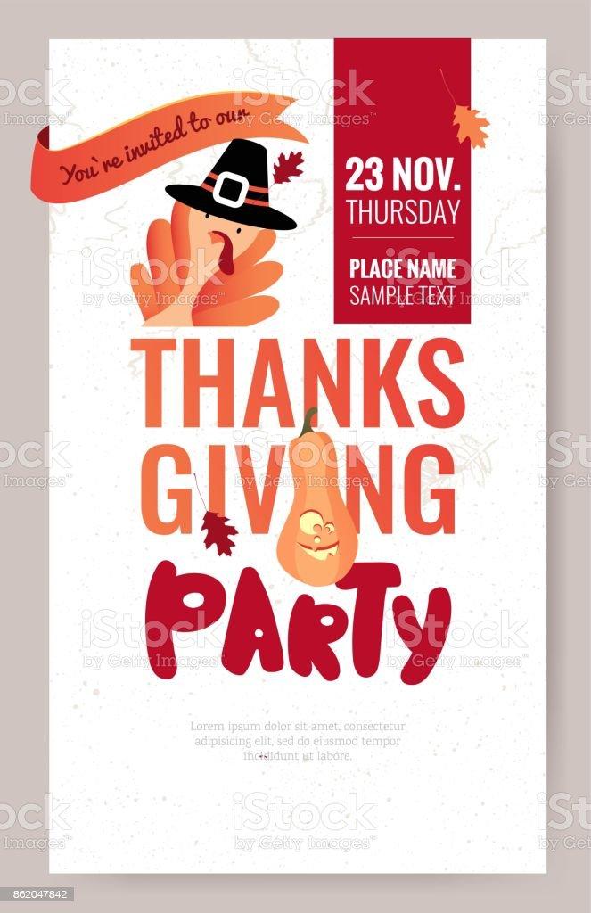 Invitation poster for thanksgiving dinner or party. vector art illustration