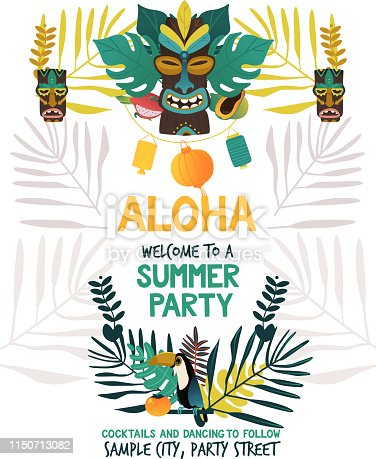 Invitation poster template for hawaiian summer party with traditional Hawaii island symbols of tiki, tropical fruits and bird, flowers and leaves on white background in flat vector illustration.
