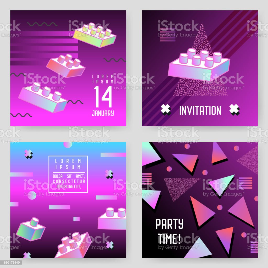 Invitation Poster Templates Set with Geometric Shapes. Party Background Vintage Retro 80s 90s Style. Vector illustration