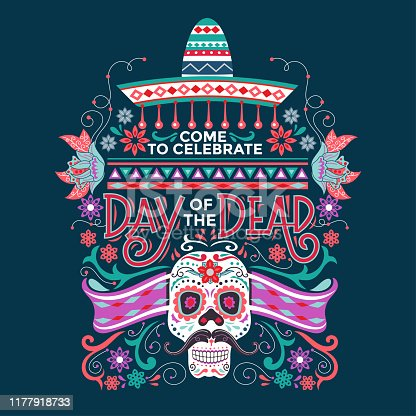 Invitation poster to the Day of the dead party. Great for poster, flyer, invitation and art print