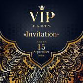 VIP party premium invitation card poster flyer. Black and golden design template. Golden mandala ethnic decorative background.