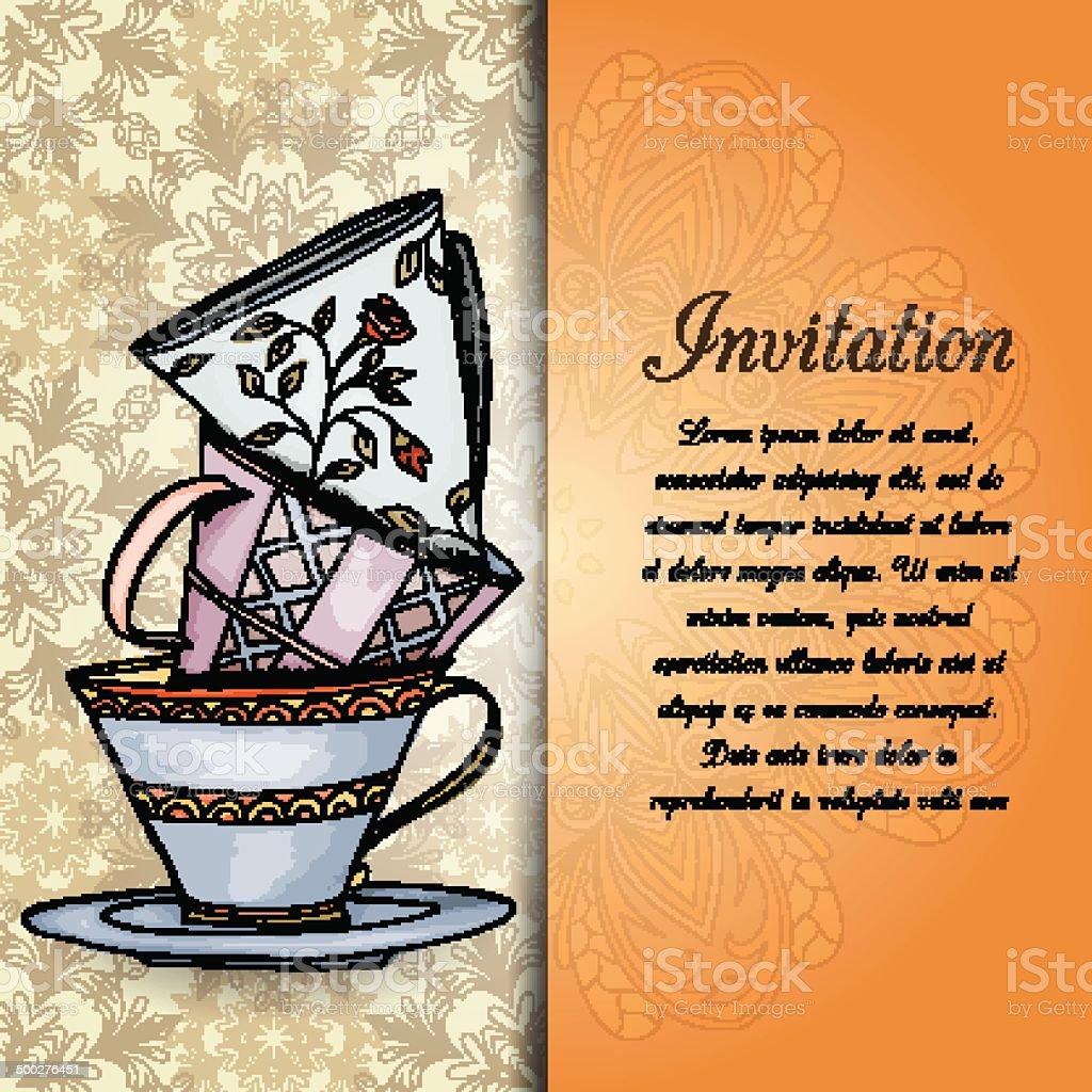 Ilustración De Invitación Tarjeta Retro Diseño Dibujados A