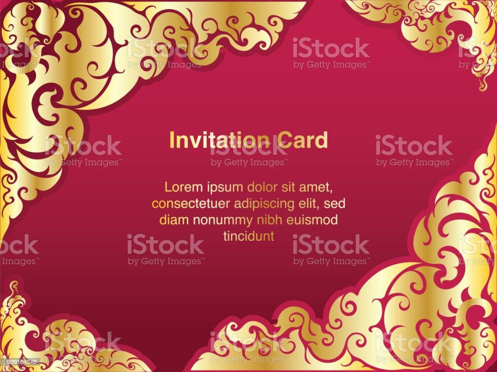 Einladungvorlage Hintergrund Und Rahmen Grenzevektordesign Gold ...
