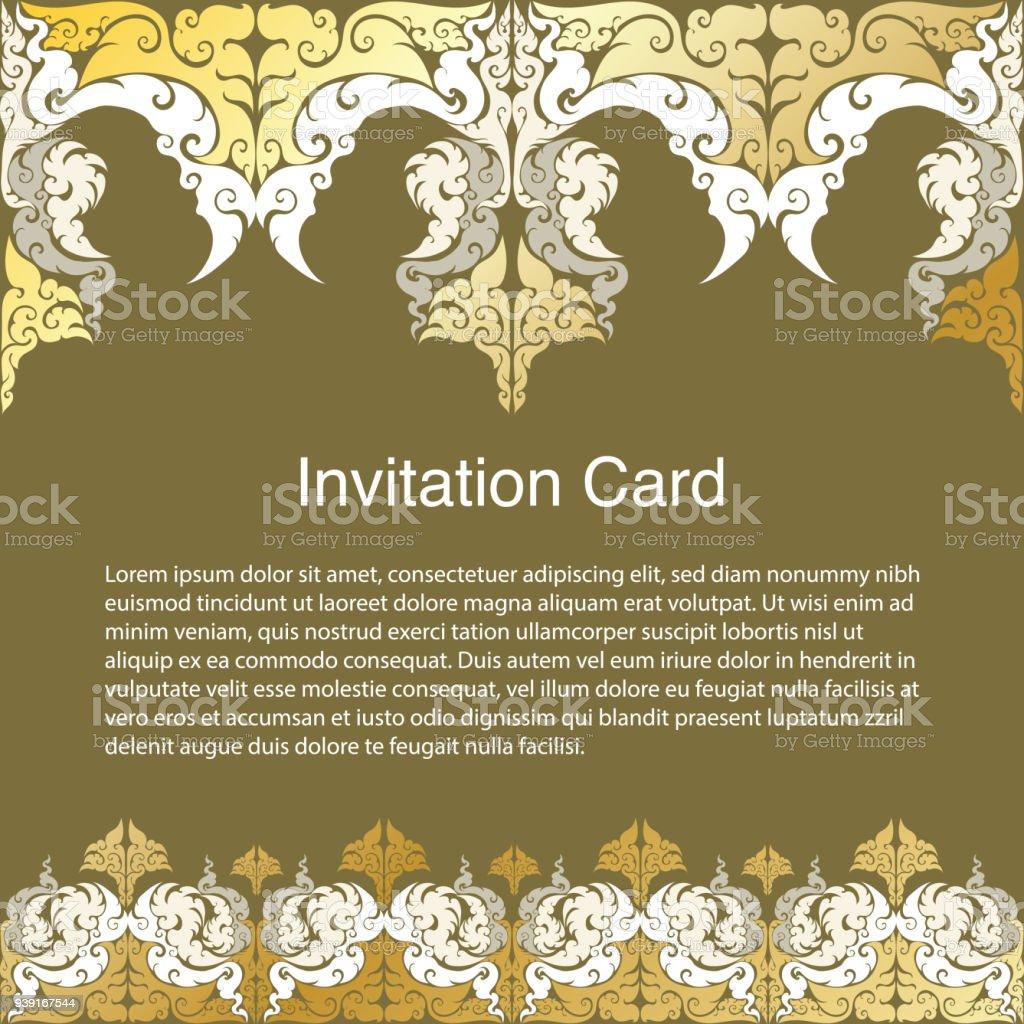 gold frame border vector. Brilliant Gold Invitation Template Background And Frame Border Vector Design Gold Color  Of Line Art Floral Intended Frame Border Vector