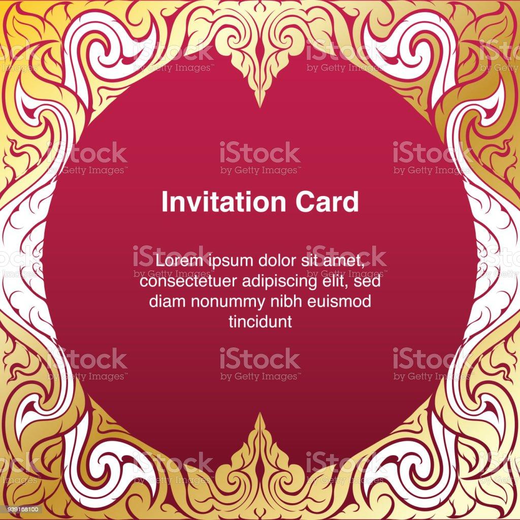 gold frame border vector. Beautiful Gold Invitation Template Background And Frame Border Vector Design Gold Color  Of Line Art Floral And Frame Border Vector