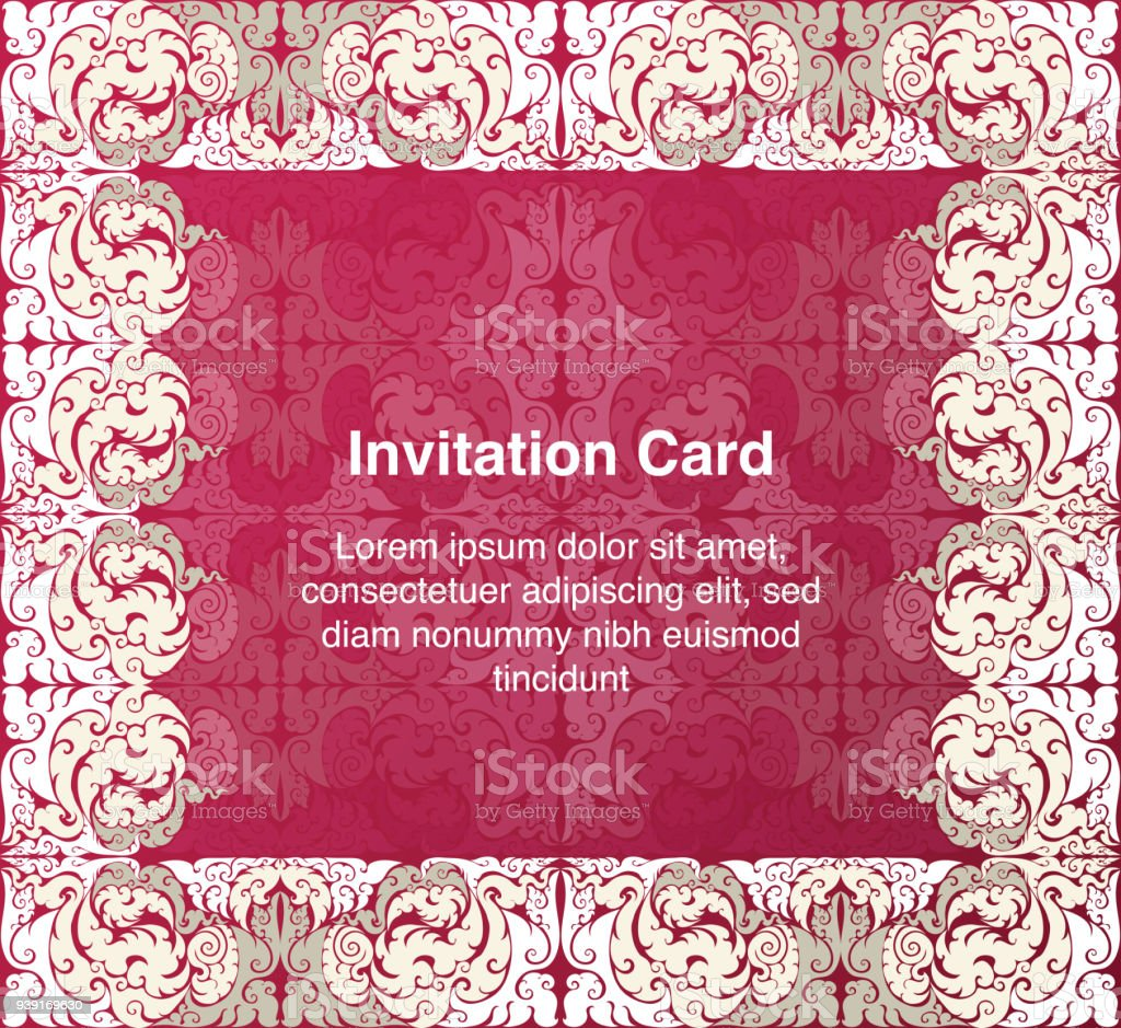 Invitation Template Background And Frame Border Vector Design Gold ...