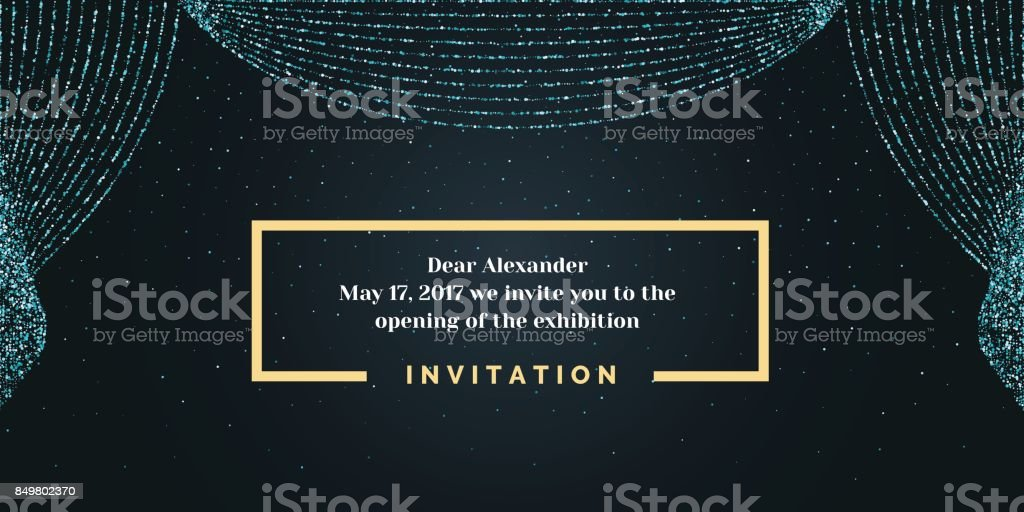 Invitation template for the event. Background open curtain
