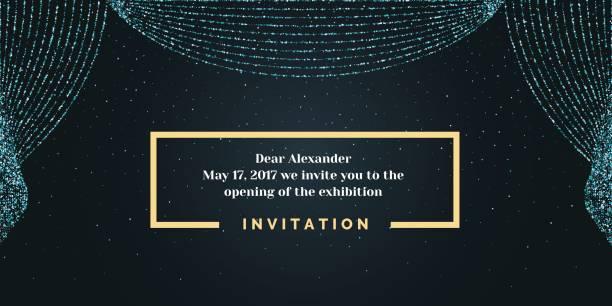 イベントの招待状のテンプレートです。背景に開いているカーテン - glitter curtain点のイラスト素材/クリップアート素材/マンガ素材/アイコン素材