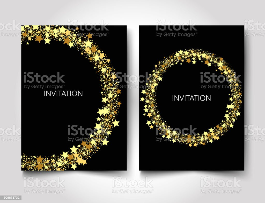 Invitation Template Gold Glitter With Gold Stars On A Black Background  Stock Illustration - Download Image Now - iStock