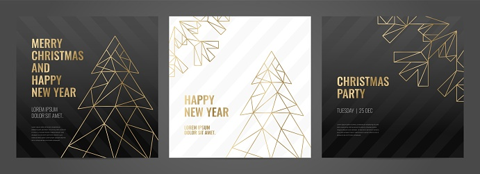 Invitation template gold lines on a black background. Christmas card.
