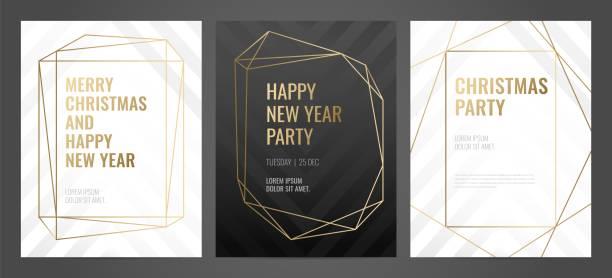 ilustrações, clipart, desenhos animados e ícones de linhas de convite modelo ouro sobre um fundo preto. - moda de casamento