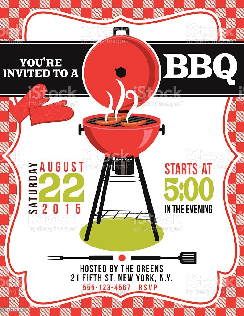 Bbq Invitation Template On Red White Checked Background