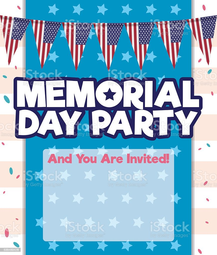 Invitation Template To Party In Memorial Day Stock Illustration ...