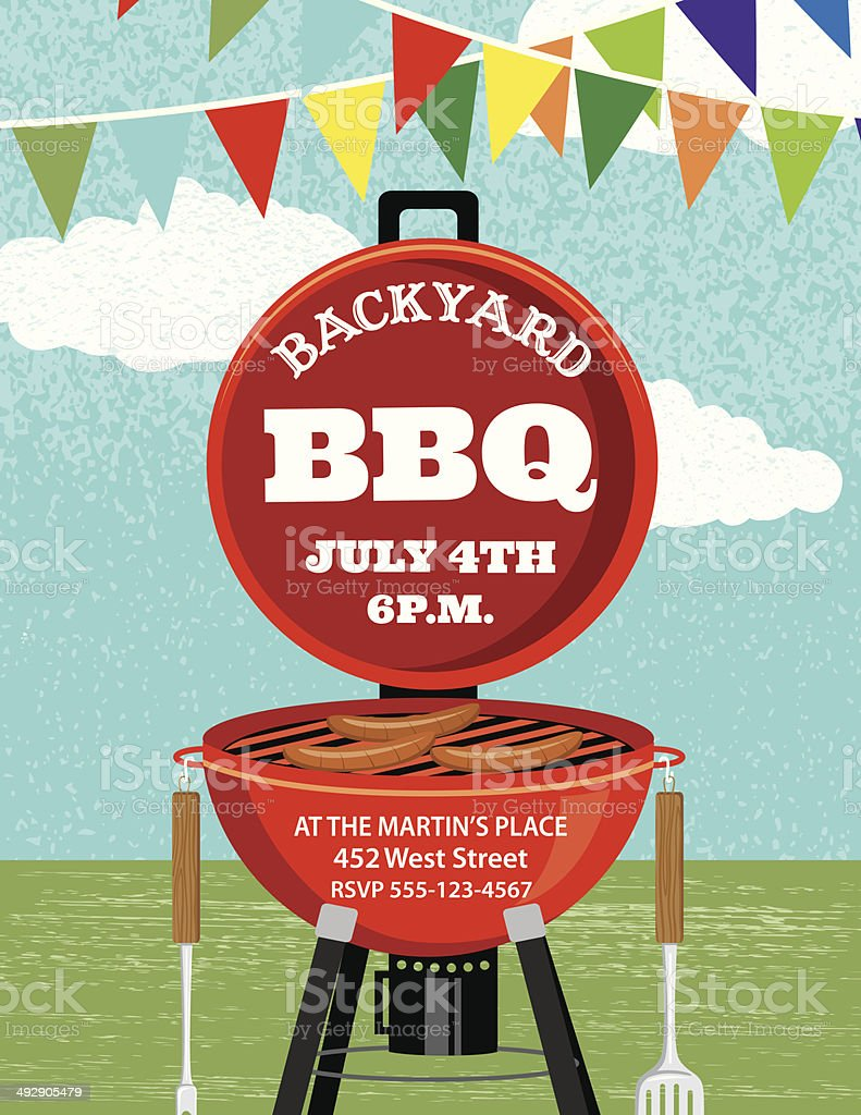 BBQ Invitation Template vector art illustration