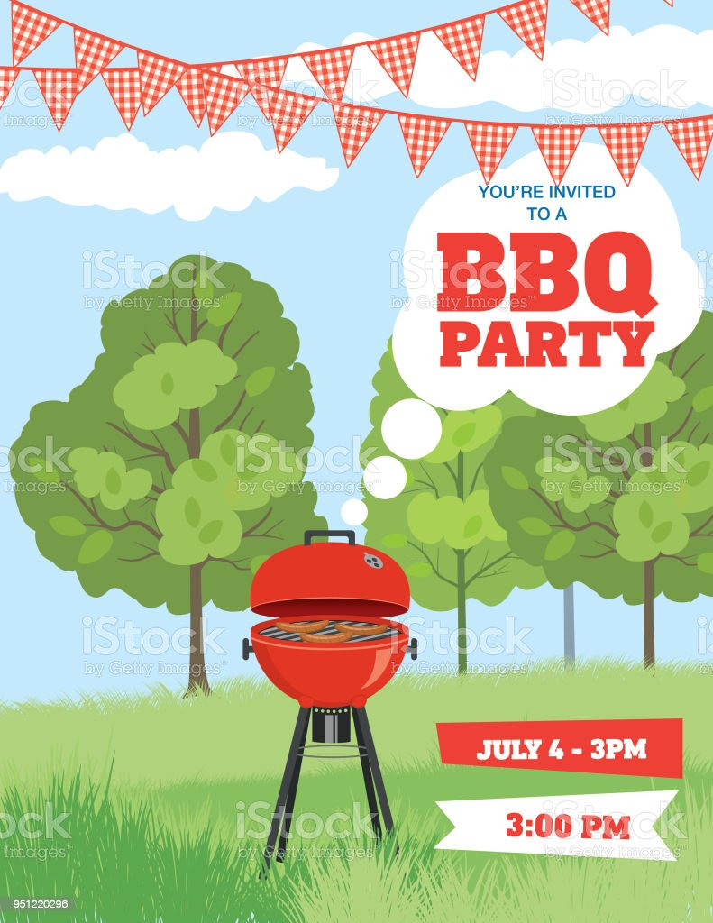 Bbq Invitation Template Stock Vector Art & More Images of Barbecue ...