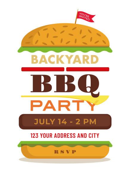 ilustraciones, imágenes clip art, dibujos animados e iconos de stock de barbacoa plantilla de la invitación - cheeseburger