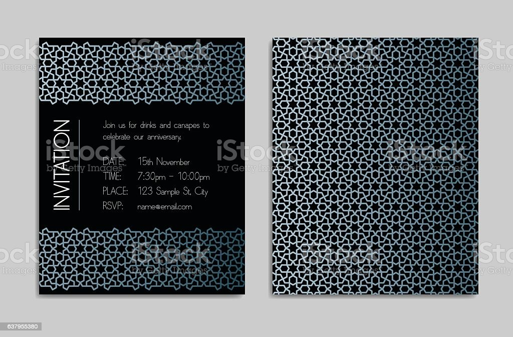Invitation template with geometric pattern – Vektorgrafik
