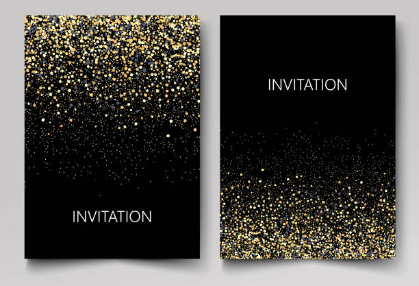 invitation template with gold glitter confetti background. festive greeting cards design for event - invitation card stock illustrations, clip art, cartoons, & icons