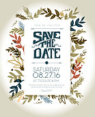Vector Illustration of an Invitation template with hand drawn leaf and lettering elements.