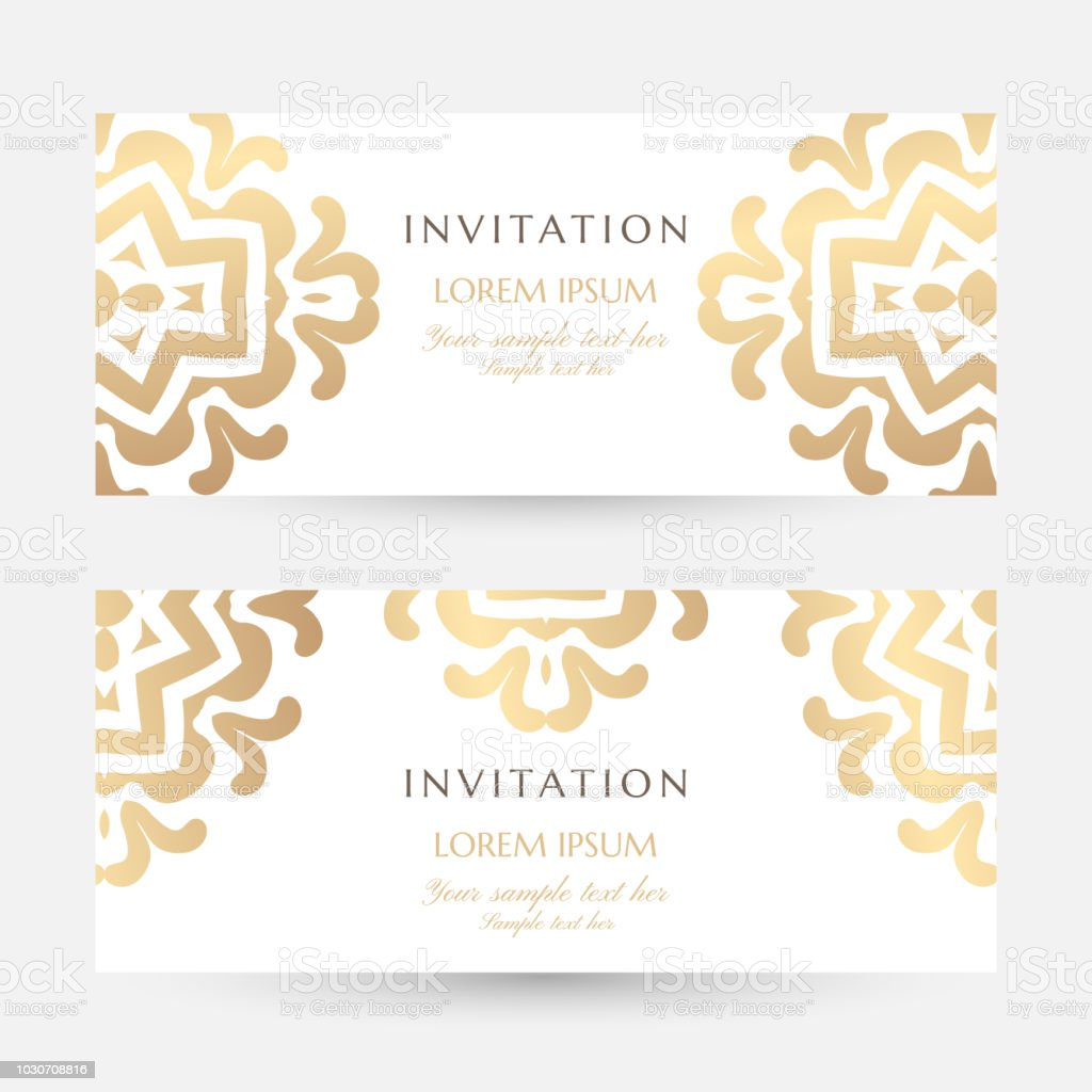 Invitation Templates Cover Design With Gold Ornaments And White