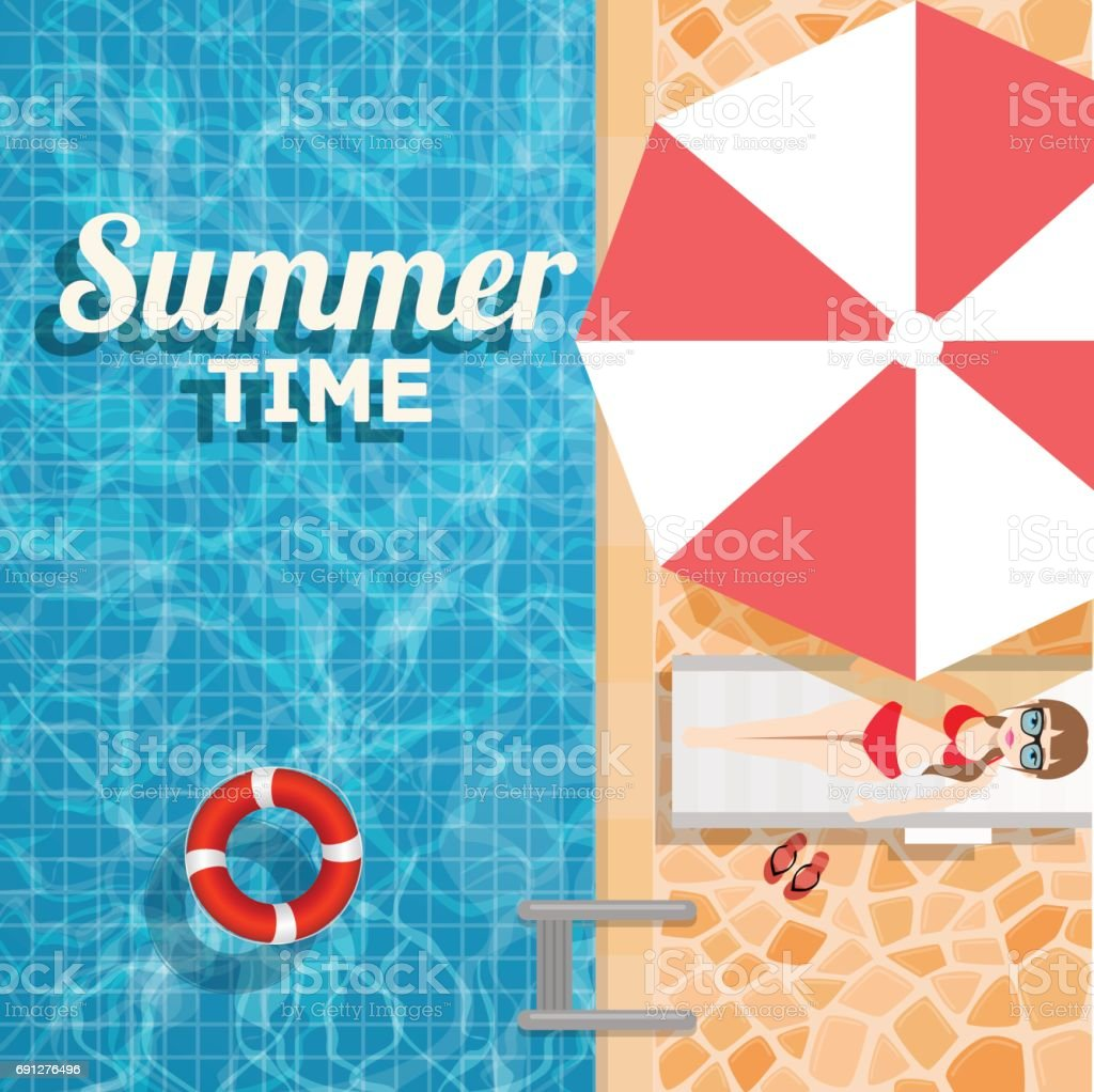 Invitation to a water party in the summer pool. Vector design illustration swimming pool with inflatable ring and a sunbathing girl under an umbrella vector art illustration