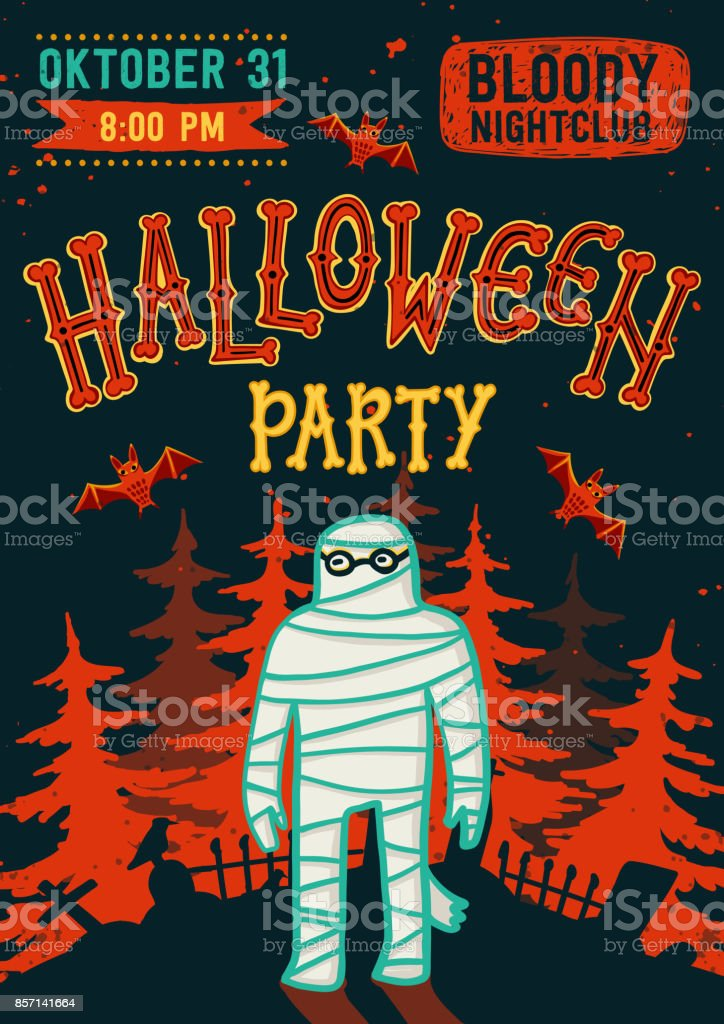 Invitation To Halloween Night Party Vintage Card With Mummy Vector ...