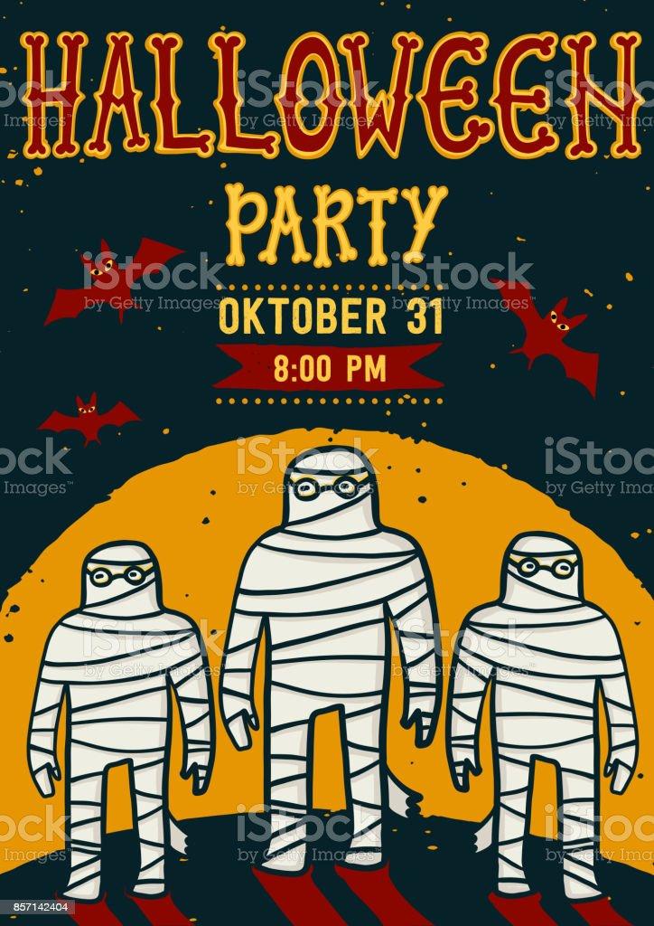 Invitation to halloween night party vintage card with mummy vector invitation to halloween night party vintage card with mummy vector template halloween party stopboris Choice Image