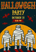 Invitation to Halloween night party. Vintage card with mummy. Vector template. Halloween party invitation card. Halloween flyer with text Halloween party on a grunge texture