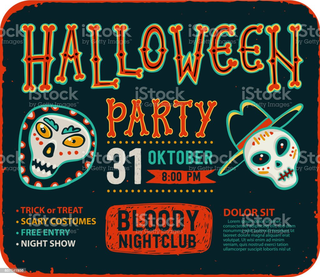 Invitation To Halloween Night Party Vintage Card With Skulls – Party Invitation Flyer