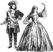 Vector image of a dancing couple in historical costumes.