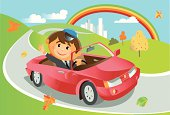 red convertible on a country road. vector illustration/